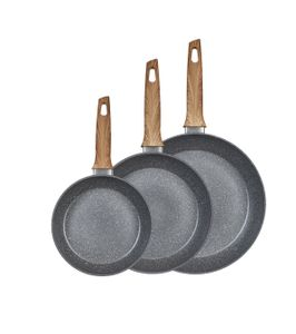 3tlg. KING® Pfannenset ESSENTIAL Ø20,24,28cm aus Aluminium und mit langlebiger Antihaft-Beschichtung Innen / grau marmoriert mit Holzgriff-Optik