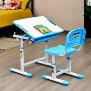 Kinderschreibtisch Schülerschreibtisch mit Stuhl Satz Jugend Tisch Höhenverstellbar Set inklusive Stuhl Blau