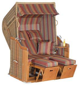Rustikal Strandkorb 250 Plus 2-Sitzer, Halblieger Ostseeform, Geflecht marone, Strukturpolyester gestreift, Fichtenholz lasiert, ca.125x90x160