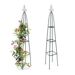relaxdays 2x Rankhilfe Obelisk Kletterhilfe Rankstab Rankgitter Garten Rosenbogen Metall