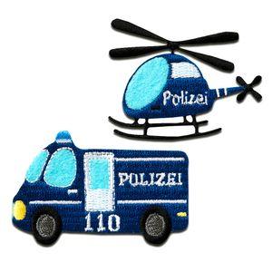 Polizei Auto Hubschrauber - Aufnäher, Bügelbild, Aufbügler, Applikationen, Patches, Flicken, zum aufbügeln, Größe: verschiedene Größen