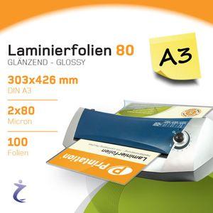 100 Stück DIN A3 Laminierfolientaschen 426 x 303mm, 2x 80 mic, Hochglanz Printation Premium Laminierfolien
