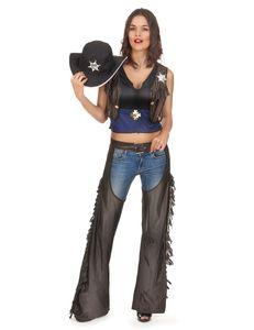 y Cowgirl-Kostüm für Damen schwarz-braun-blau
