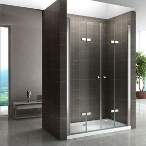 i-flair Falttüren 96-100 cm - Höhe: 195 cm, Duschtüren aus 6 mm durchsichtigem ESG Sicherheitsglas mit Nanobeschichtung