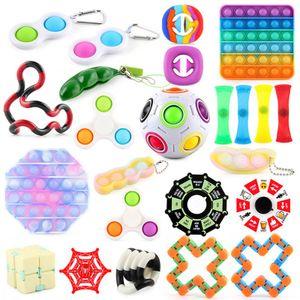 24 Stück Push Bubble Zappeln Sensorisches Spielzeug Fidget Toys Set, zum Stressabbau Anti-Angst Dekompressionsspielzeug