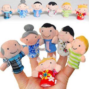 6 Stück Cartoon Familie Fingerpuppen Tuch Baby Educational Hand Story Sp -  Neue--Random