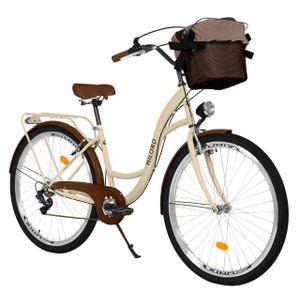 Milord Komfort Fahrrad Mit Korb Damenfahrrad, 26 Zoll, Braun, 7 Gang Shimano