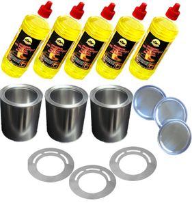 Set 5 Liter Brenngel + 3 Blech Dosen mit Sparplatten für Gelkamin Glasfeuer Kamin
