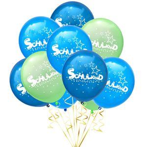 Oblique Unique 10x Luftballons Schuleinführung Einschulung Schulanfang Deko Schulkind und Stern Motive - Farbmix
