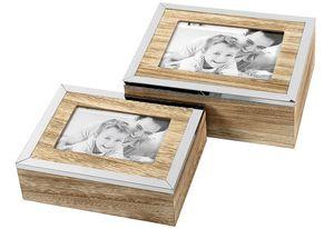 2er Satz Aufbewahrungsbox Holz/Metall