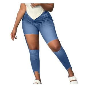 Damen High Waisted Ripped Pants Straight Denim Jeans Lässige Baggy-Hose Größe:XXL,Farbe:Blau