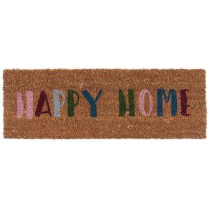 Kokos Fußmatte Happy Home bunt, schmales Format