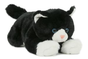 Plüschtier Katze 28 cm, schwarz weiß, Kuscheltier Stofftier Haustiere Katzen Kätzchen