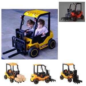 ES-Toys Kinder Elektrofahrzeug Gabelstapler Fernbedienung Musikfunktion Gurt gelb