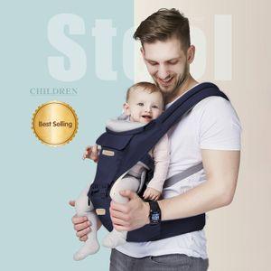 Multifunktionale Babytrage, Baby-Taillenhocker, 3-in-1-Rückenlehne vorne, alle Jahreszeiten, Dunkelblau