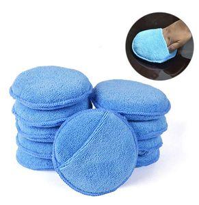 10X Microfaser Polier Pads mit Handtasche Politur Wachs Applicator Pad Set Polierschwämme Kit für Wachse Polituren Blau