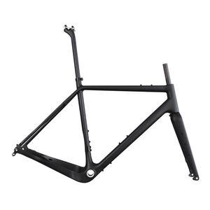 ICAN X-Gravel Carbon Gravel Bike Fahrradrahmen Flat Mount BSA 52cm Thru-axle 12 × 100/12 × 142mm