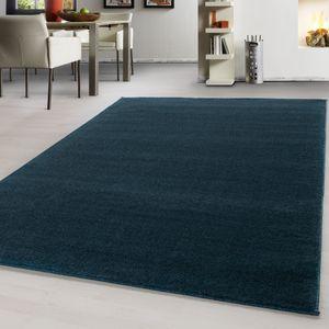 Teppich Modern design Teppich einfarbig kurzflor Teppich uni color meliert Blau, Farbe:TURKIS,120 cm x 170 cm