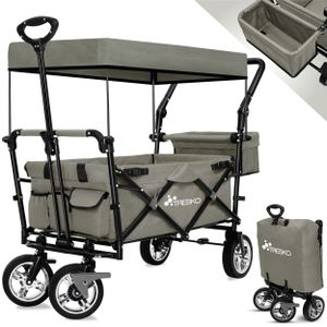 TRESKO Bollerwagen Grau Faltbar Handwagen Klappbar Gartenwagen mit Dach Transportwagen XXL