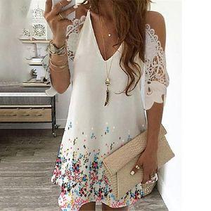 Damen Lose Spitze Kalte Schulter Ärmel Kleiner Blumendruck Rock V-Ausschnitt Kleid Größe:L,Farbe:Weiß