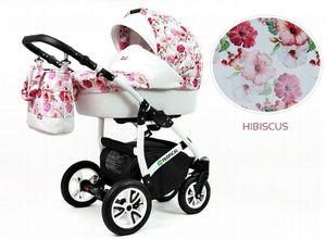 Kinderwagen Tropical Hibiscus, 3in1 -Set Wanne Buggy Babyschale Autositz Zubehör