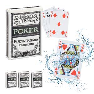 relaxdays 4 x Pokerkarten Pokerset Plastik Kartenspiel Profi Pokerblatt Poker 216 Karten
