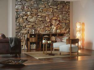 "Komar Fototapete ""Stone Wall"", grau/braun, 368 x 254 cm"
