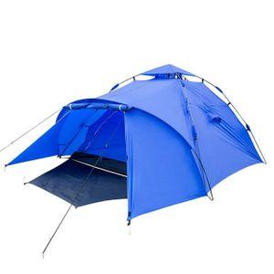WOLTU Campingzelt 3-4 Personen Zelt Camping Festival Sekundenzelt leicht mit Quick-Up-System Vorzelt Igluzelt wasserdicht Blau