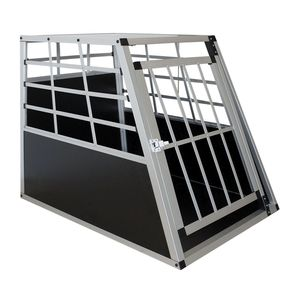 Juskys Alu Hundetransportbox L - 91 × 65 × 69 cm – Auto Hundebox robust & pflegeleicht – Gittertür verschließbar - Autotransportbox für Hunde