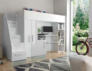 JOY 14 Hochbett Multifunktionsbett Kleiderschrank Schreibtisch Regal Weiß/Weiß + weiße Griffe 90x200
