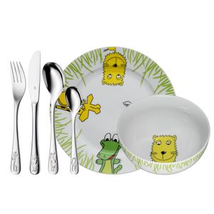 WMF Kinderbesteckset 6-teilig Safari, Toddler cutlery set, Grün, Edelstahl, Weiß, Porzellan, Edelstahl, 3 Jahr(e), 16,5 cm, 18,5 cm
