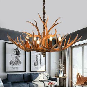 6 Köpfe Harz Geweih Lampe Kronleuchter Hirschgeweih Hängelampe Deckenleuchte Vintage Kerze Licht Lampe Beleuchtung