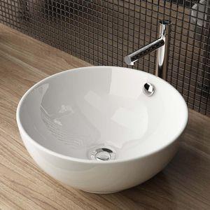 Aufsatzwaschbecken Handwaschbecken Waschschale mit Überlauf Keramik Weiß BxTxH: 38x38x16 cm WS87
