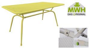 MWH-Tisch Conello 160x90x74cm gelb Streckmetalltisch Gartentisch Tisch Möbel