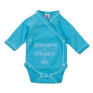 """Milarda Baby Body Wickelbody """"50% mama + 50% papa = Ich"""", türkis, Gr. 50 Größe - 50"""