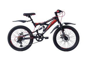 20 Zoll Kinder Jungen Mädchen Jungenfahrrad Fahrrad Kinderfahrrad Mountainbike MTB Rad Bike Vollfederung Fully 6 Shimano Gang Scheibenbremse Mechanisch OBERON Schwarz ROT
