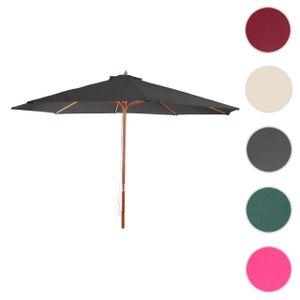 Sonnenschirm Florida, Gartenschirm Marktschirm, Ø 3m Polyester/Holz  anthrazit