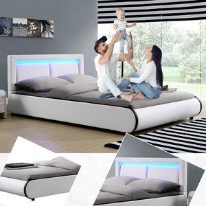 Juskys Polsterbett Murcia 140 x 200 cm – Bett mit LED, Lattenrost, Kopfteil & Kunstleder – Bettgestell gepolstert, gemütlich & modern - weiß