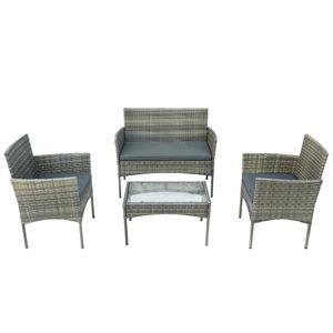 Tiema Polyrattan Sitzgruppe Lounge-Set für 4 Personen Balkonmöbel Set 2 x Sessel, 1 x Bank, 1 x Tisch, 3 x Sitzauflagen,Grau