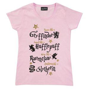 Harry Potter - Brave Loyal Wise Ambitious T-Shirt für Mädchen PG506 (170) (Babyrosa)