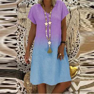 Damen Casual Fashion Lose Farbverlauf Print V-Ausschnitt Kurzarm Kleid Größe:L,Farbe:Lila