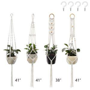 Blumenampel Makramee Pflanzenhalter Set of 4 Indoor Wandbehang Pflanzer Korb Blumentopf Halter Home Decor Geschenkbox