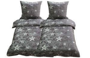 Bettwäsche 155x220 + 80x80 cm grau anthrazit Sterne mit Reißverschluss, 4-tlg.