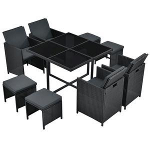 Polyrattan Sitzgruppe Baracoa L 9-teilig wetterfest & stapelbar – Gartenmöbel Set mit 4 Stühle, 4 Hocker & Tisch für Garten & Terrasse | Juskys