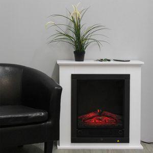 Classic Fire Kamin Lugano, Elektrischer Kamin, Freistehend, LED, Feuereffekt mit einstellbarer Helligkeit, mit oder ohne Heizung, 1800 W, Weiß