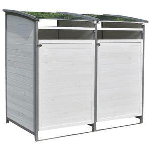 Mülltonnenbox - Einzelbox + Anbaubox weiß/grau
