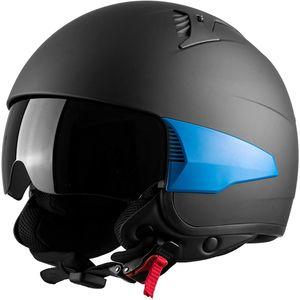 Westt Rover - Jethelm Motorradhelm Helm + 3 austauschbare Seitenteile - Sonnenblende Retro Stil - Matt Schwarz - E, Farbe:Schwarz, Größe:M (57-58cm)