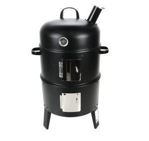 Holzkohle Räucherofen mit Kohlewanne, Schwarz, Smoker