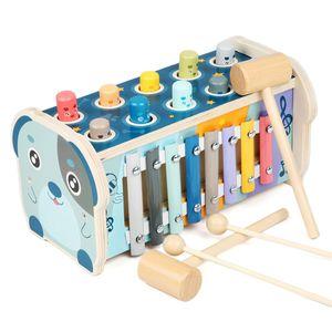 Hammerspiel Holz Klopfbank Hämmerchenspiel für Kinder Montessori Spielzeug 3 in 1 Klopfspiel mit Hammer Lernspielzeug Babyspielzeug