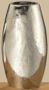 Dekovase Vase silber Metall oval Deko Metallvase Tischdeko Aluminium massiv Höhe 22 cm